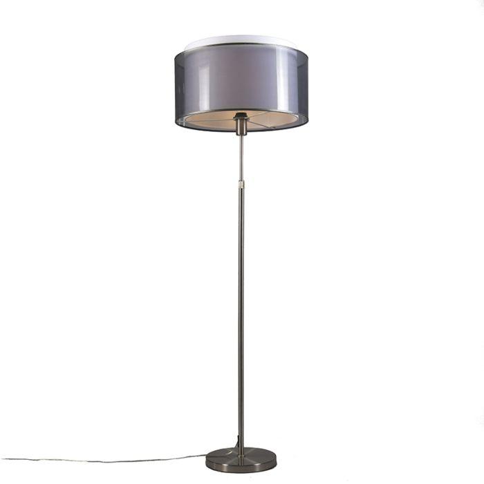Lámpara-de-pie-acero-pantalla-negra/blanca-47cm-ajustable---PARTE