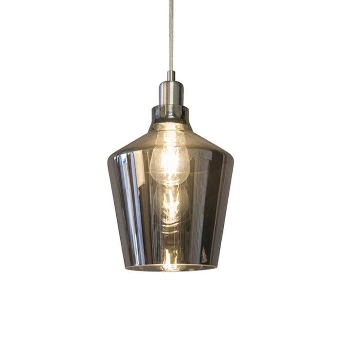 Lámpara-colgante-Art-Deco-de-vidrio-ahumado---Penta