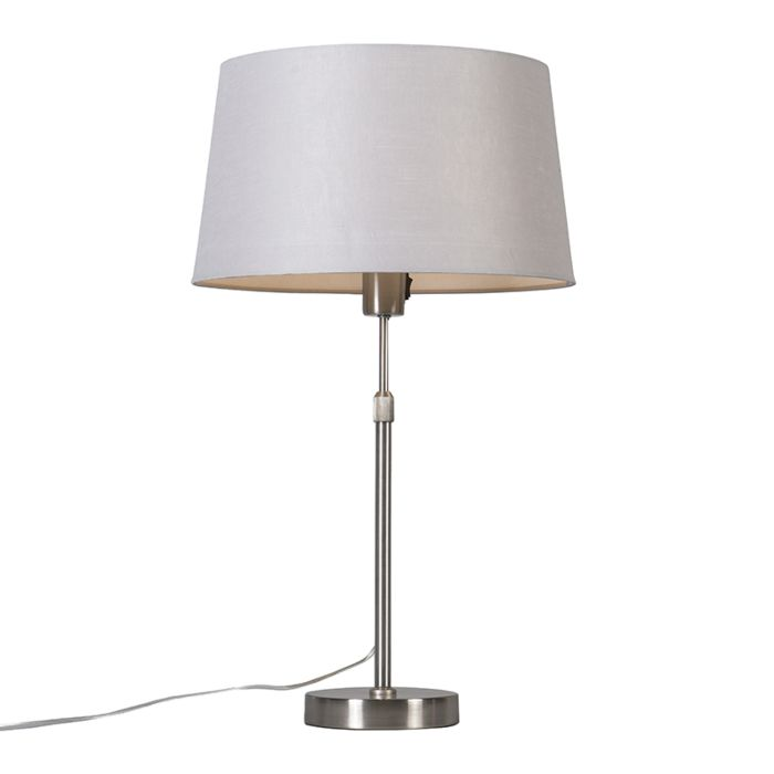 Lámpara-de-mesa-acero-con-pantalla-gris-claro-35-cm-ajustable---Parte