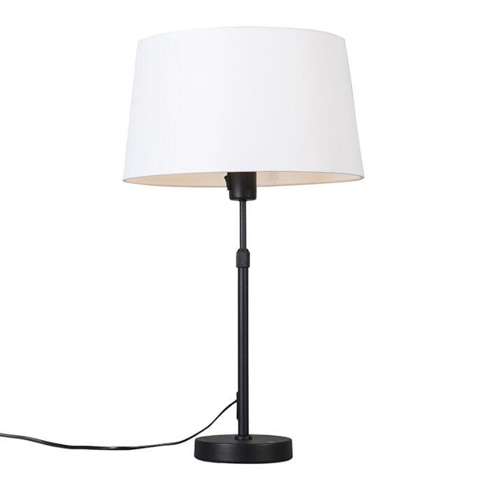 Lámpara-de-mesa-negra-pantalla-blanca-35cm-ajustable---PARTE