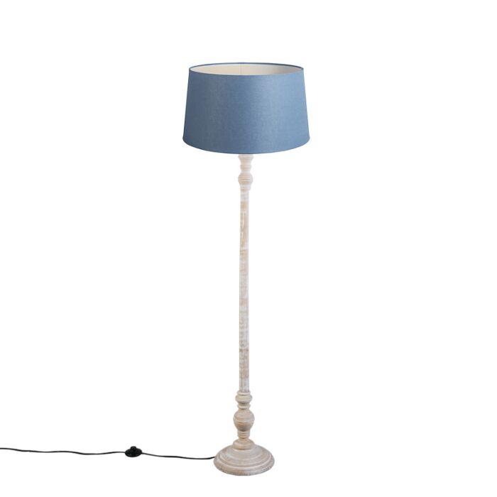 Lámpara-de-pie-CLASSICO-pantalla-lino-azul-45cm