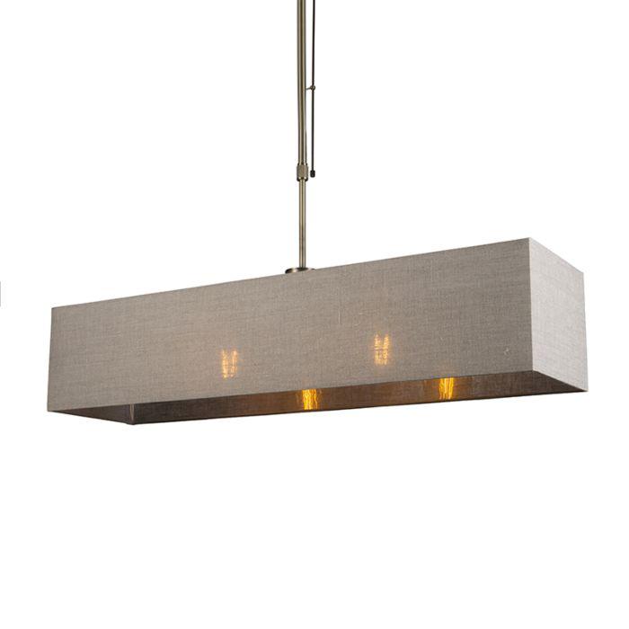 Lámpara-colgante-MIX-2-bronce-regulable-con-pantalla-alargada-marrón-claro