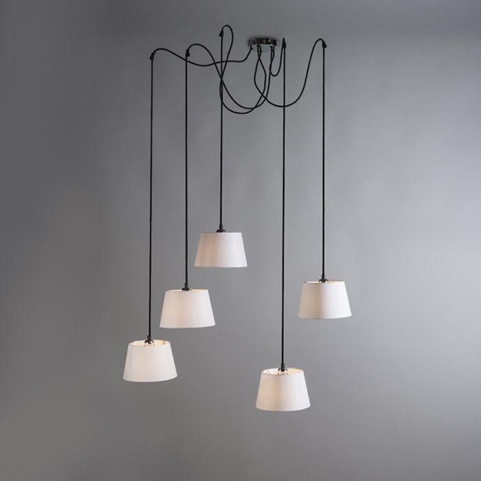 Lámpara-colgante-CAVA-5-cromo-con-pantallas-blancas