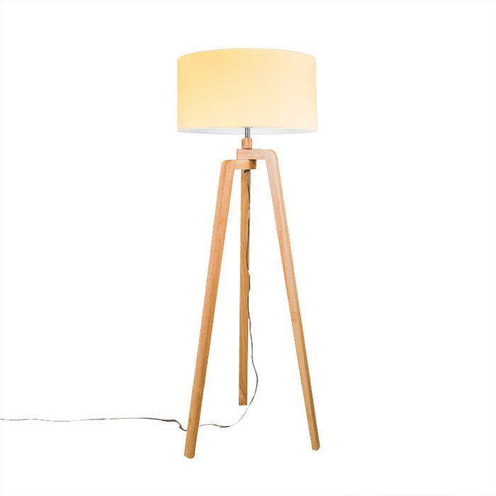 Lámpara-de-pie-PUROS-madera-con-pantalla-50cm-crema