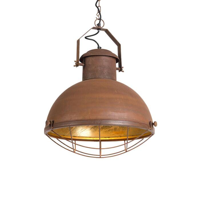 Lámpara-colgante-ENGINE-oxidada-con-interior-dorado-