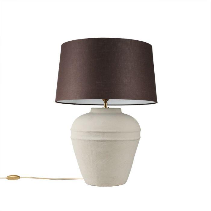 Lámpara-de-mesa-ARTA-S-gris-con-pantalla-45cm-marrón