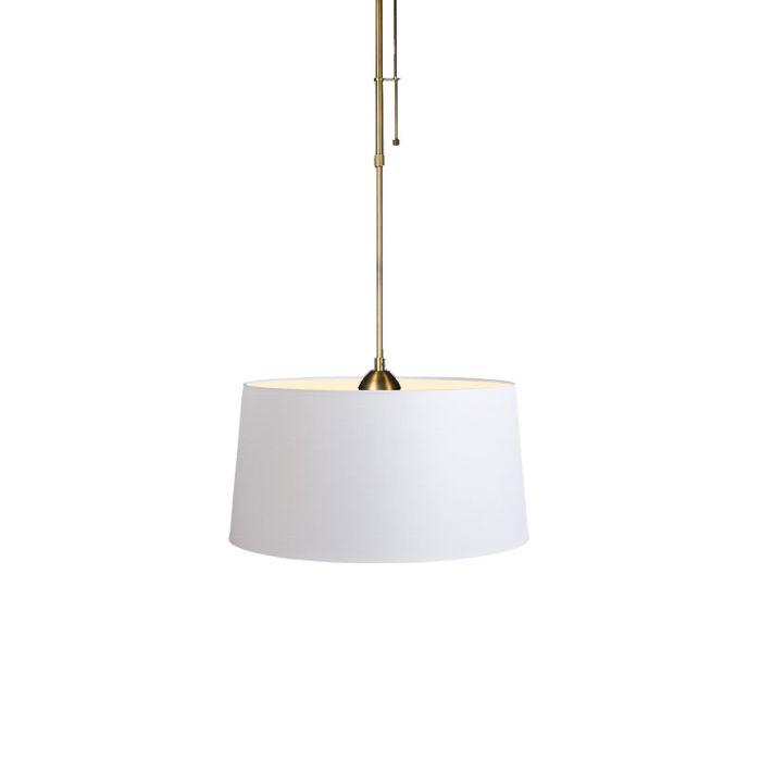 Lámpara-colgante-MIX-1-bronce-con-regulador-con-pantalla-45cm-blanca