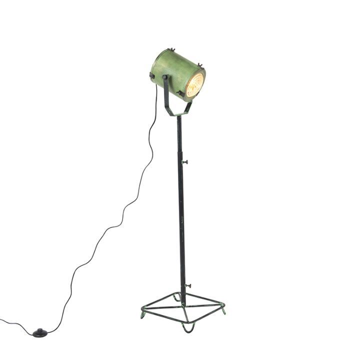 Lámpara-de-pie-vintage-foco-de-cine-verde-envejecido-140cm---BROOKE