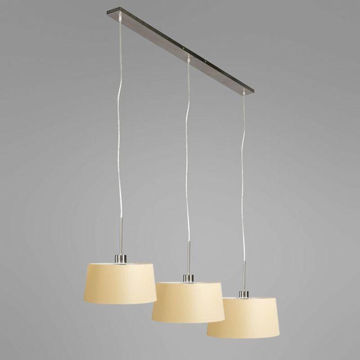 Lámpara-colgante-COMBI-3-oro-con-pantallas-35cm-crema