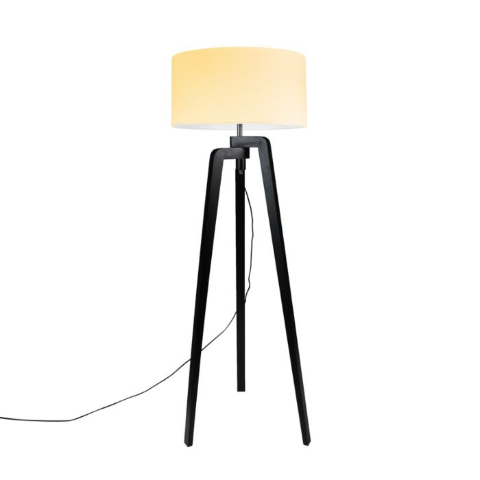 Lámpara-de-pie-PUROS-negra-con-pantalla-50cm-crema