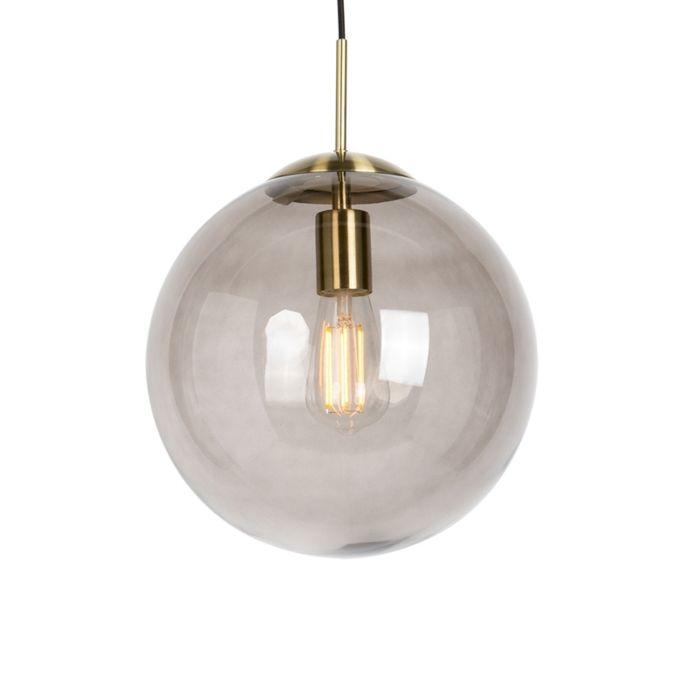 Lámpara-colgante-moderna-de-latón-con-vidrio-ahumado-30-cm---Bola