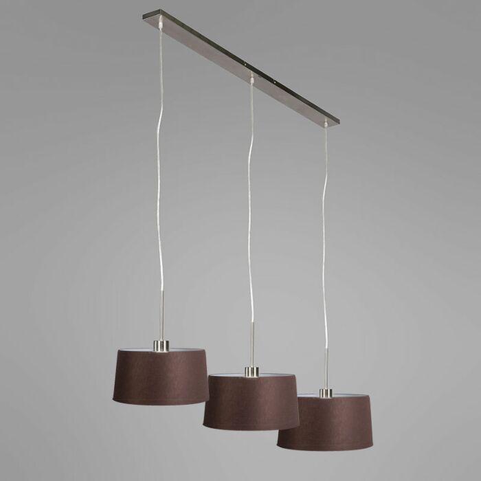 Lámpara-colgante-COMBI-3-acero-con-pantallas-45cm-marones