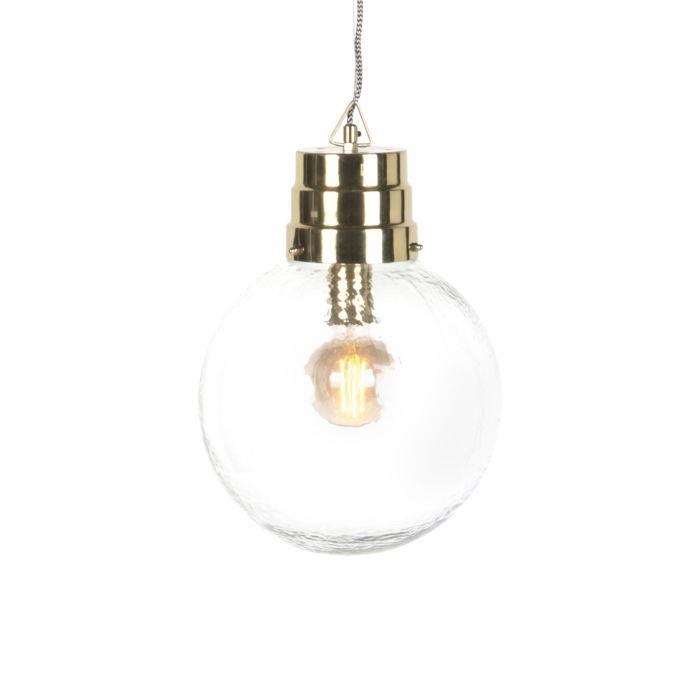 Lámpara-colgante-retro-redondo-cristal-con-latón---CHENNAI