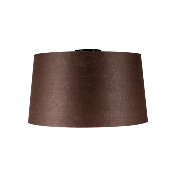 Lámpara-de-techo-negro-mate-con-pantalla-marrón-45-cm---Combi