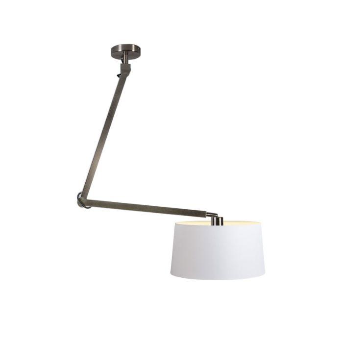 Lámpara-colgante-ACCIO-acero-con-pantalla-45cm-blanca