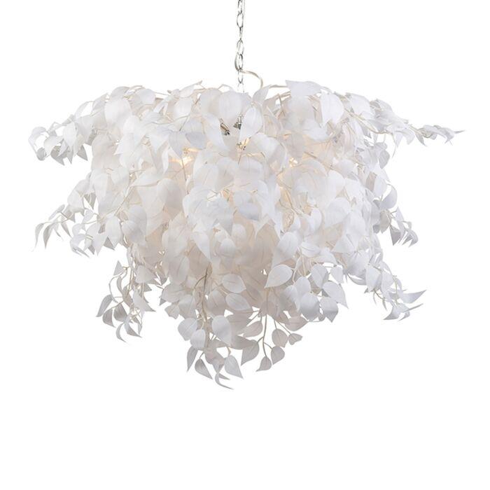 Lámpara-colgante-Art-Déco-blanca-y-cromo-con-hojas-100cm---FEDER