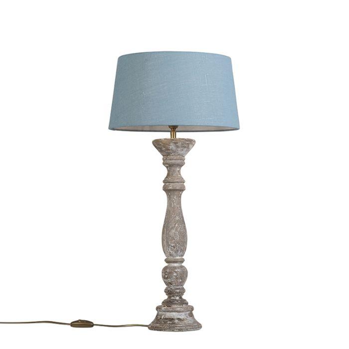 Lámpara-de-mesa-blanca-con-pantalla-35-cm-azul-claro