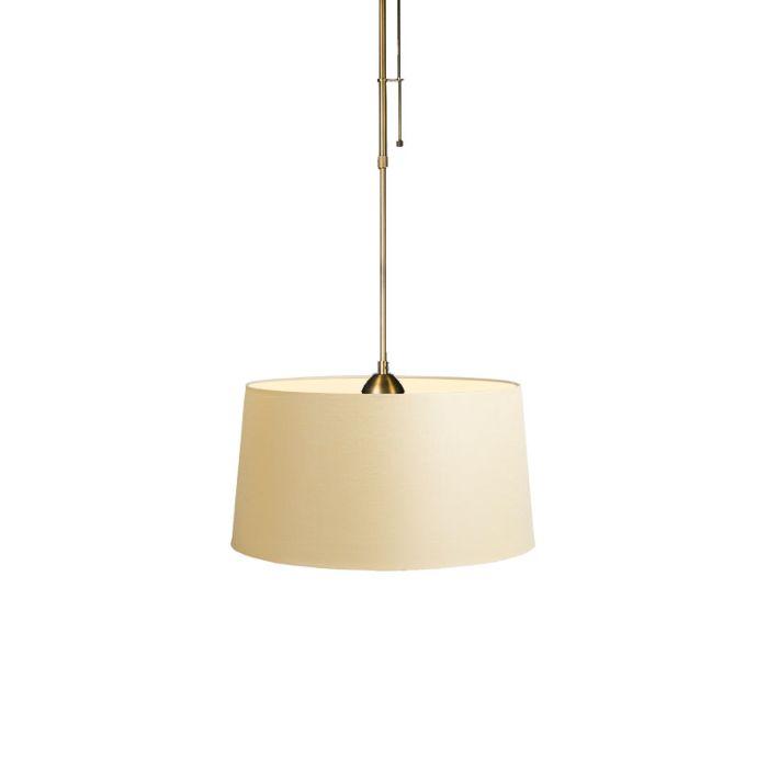 Lámpara-colgante-MIX-1-bronce-con-regulador-con-pantalla-45cm-crema