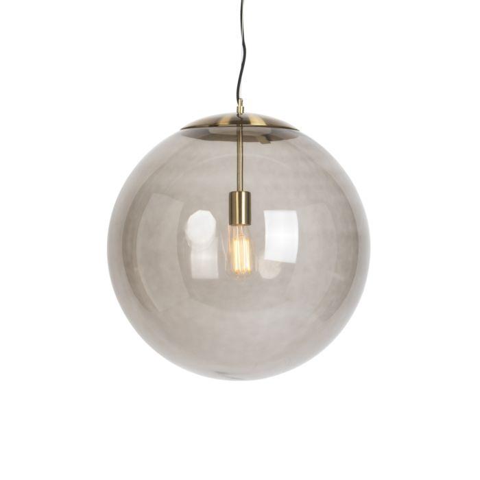 Lámpara-colgante-moderna-de-latón-con-vidrio-ahumado-50-cm---Bola