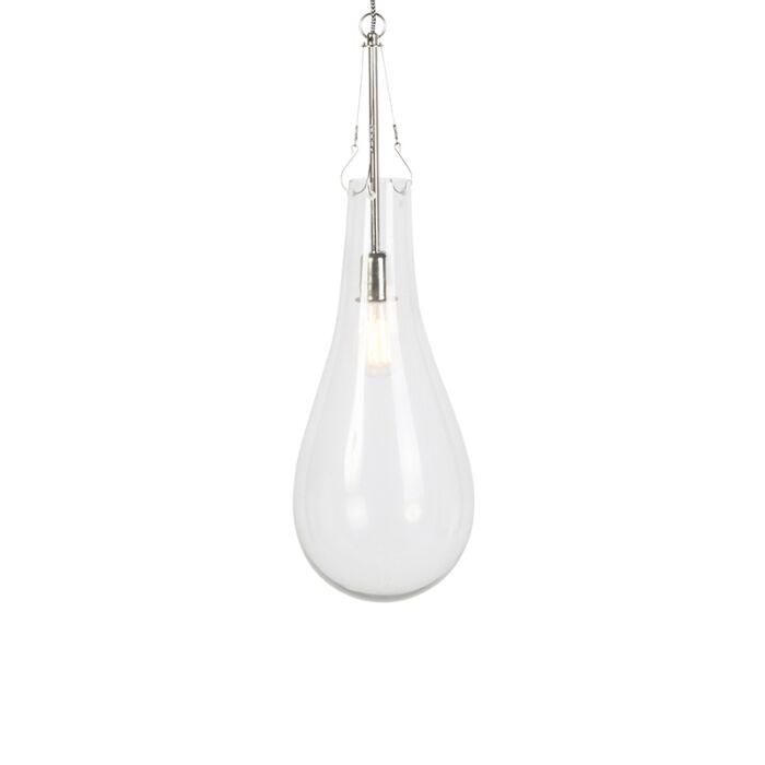 Lámpara-colgante-retro-redondo-cristal-con-níquel---NEHRU