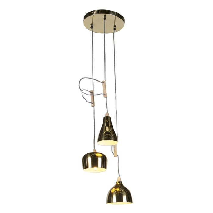 Lámpara-colgante-de-diseño-oro-/-latón-ajustable-con-3-luces---Vidya