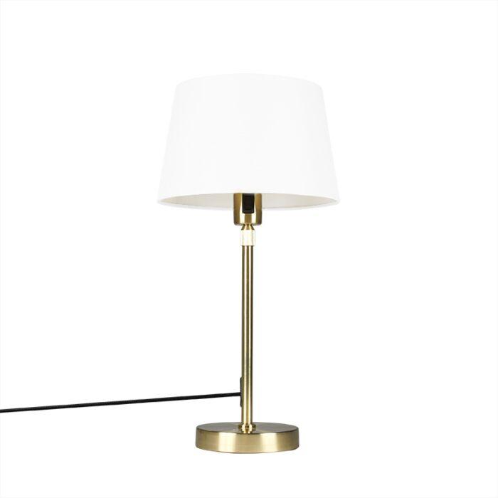 Lámpara-de-mesa-oro/latón-pantalla-blanca-25cm-ajustable---PARTE