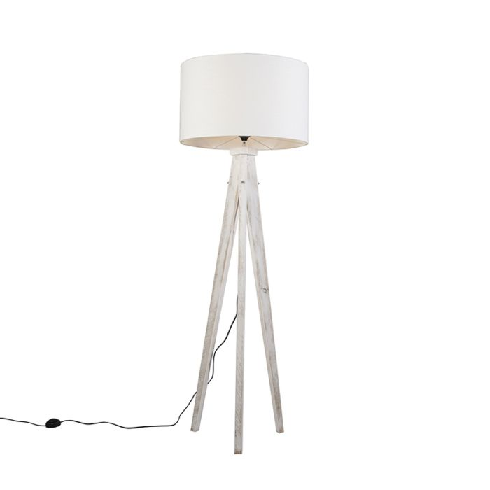 Lámpara-de-pie-KAROS-blanca-con-pantalla-55-cm-blanca