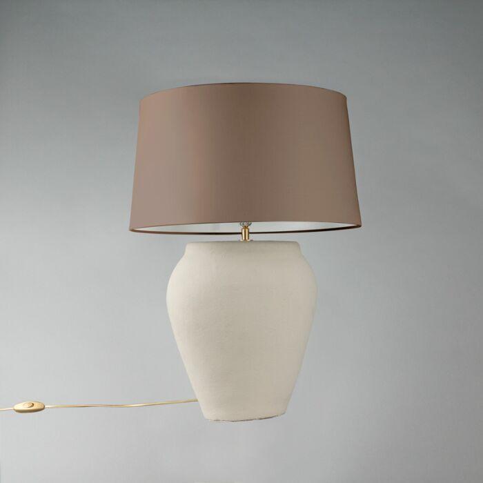 Lámpara-de-mesa-BLAVA-ovalada-gris-pantalla-45cm-taupe