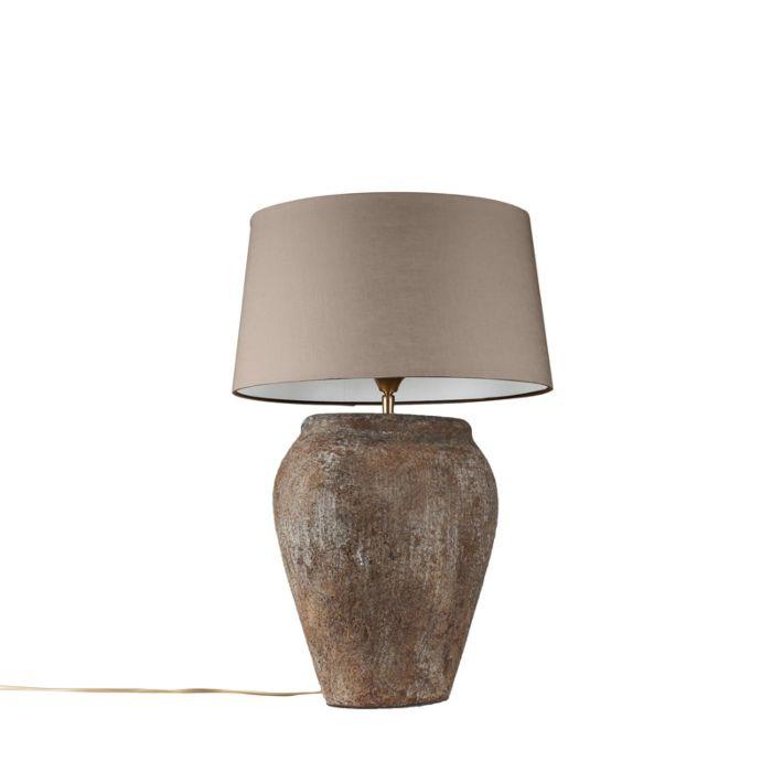 Lámpara-de-mesa-BLAVA-ovalada-vintage-pantalla-45cm-taupe