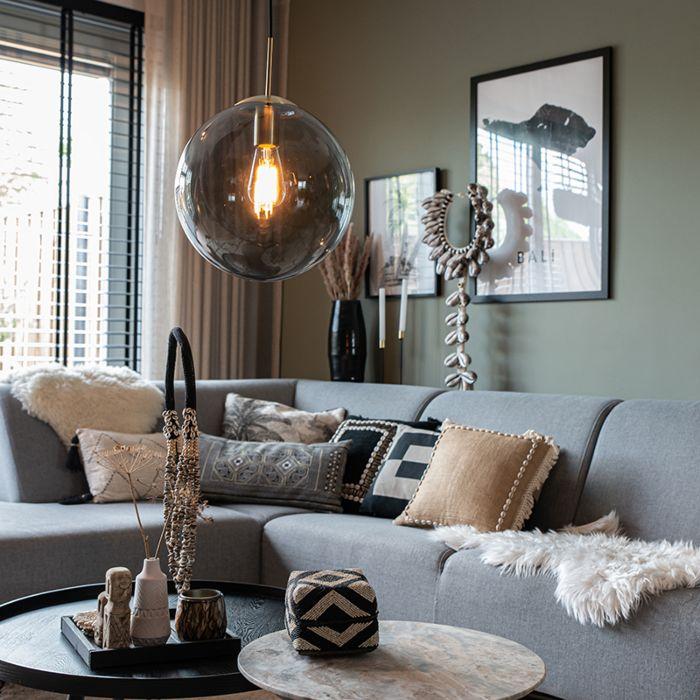 Lámpara-colgante-moderna-latón-vidrio-ahumado-30cm---BALL