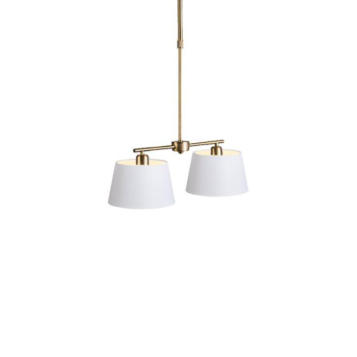Lámpara-colgante-MIX-2-bronce-con-pantallas-20-cm-blancas