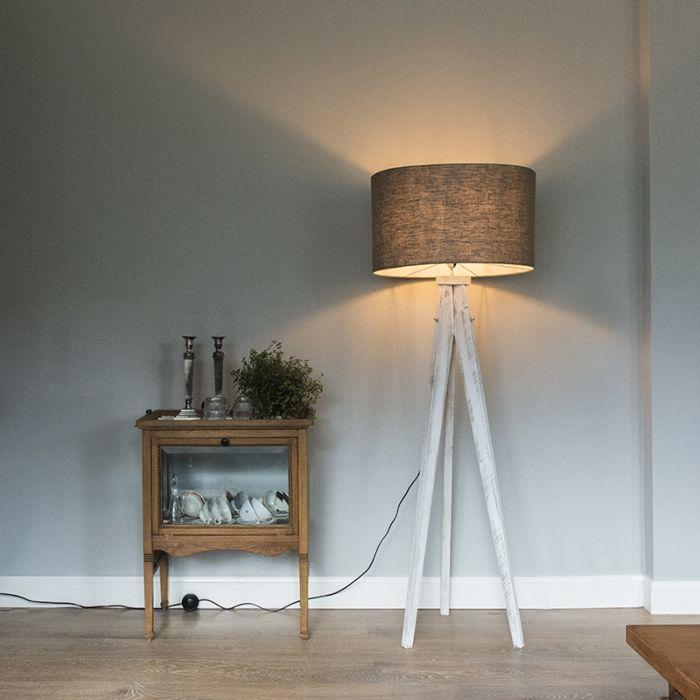 Lámpara-de-pie-KAROS-blanca-con-pantalla-55-cm-gris