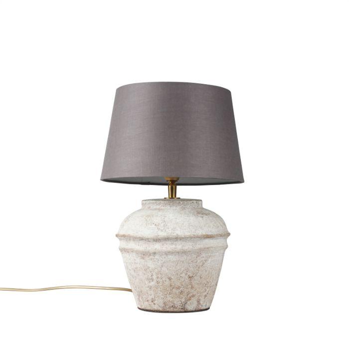 Lámpara-de-mesa-ARTA-XS-escocesa-con-pantalla-25cm-gris-marronáceo