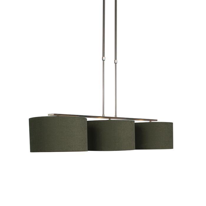 Lámpara-colgante-acero-con-pantalla-35-cm-verde-musgo---Combi-3-Deluxe
