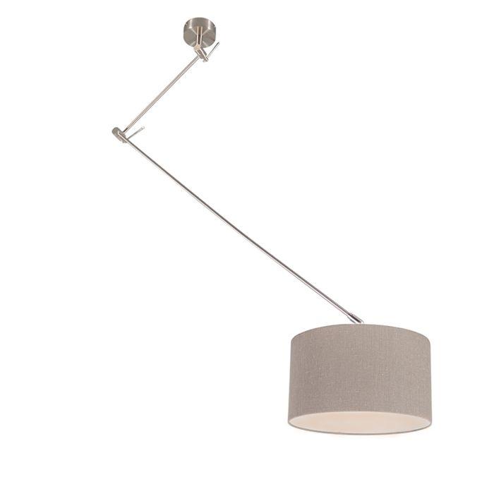 Lámpara-colgante-de-acero-con-pantalla-de-35-cm-de-edad-gris-ajustable---Blitz-I