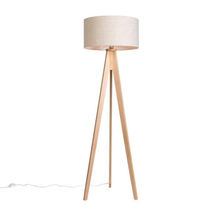 Lámpara-de-pie-TRIPOD-Classic-blanco-tiza-con-pantalla-50cm-color-pimienta