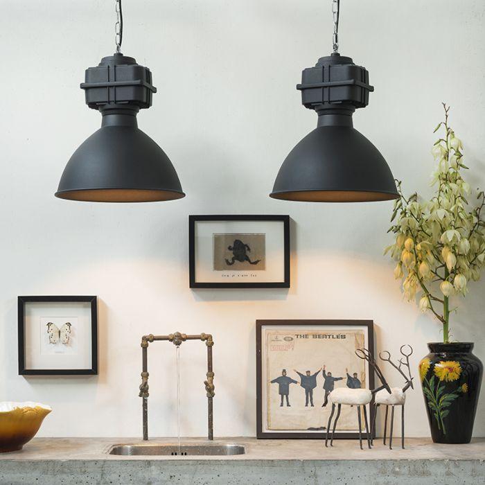 Conjunto-de-2-lámparas-colgantes-industriales-pequeñas-negro-mate---Sicko