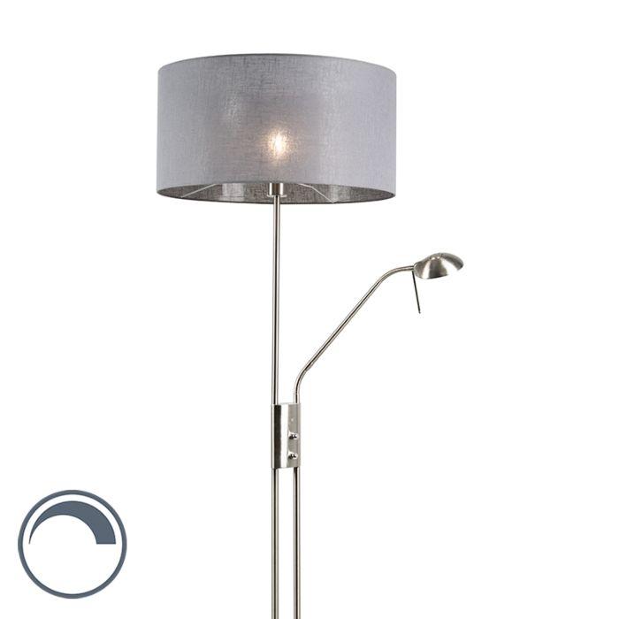 Lámpara-de-pie-acero-pantalla-gris-brazo-lectura---LUXOR