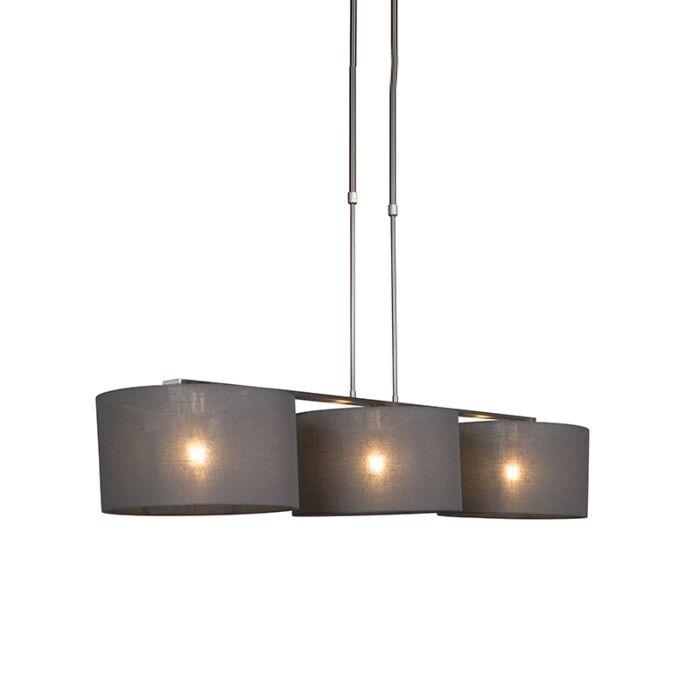 Lámpara-colgante-acero-pantalla-35cm-gris-oscuro---COMBI-3-Deluxe