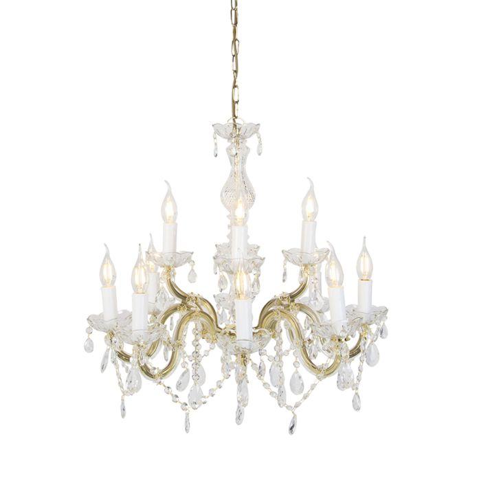 Araña-de-cristal-de-latón-S-arm-12-luces---Marie-Theresa