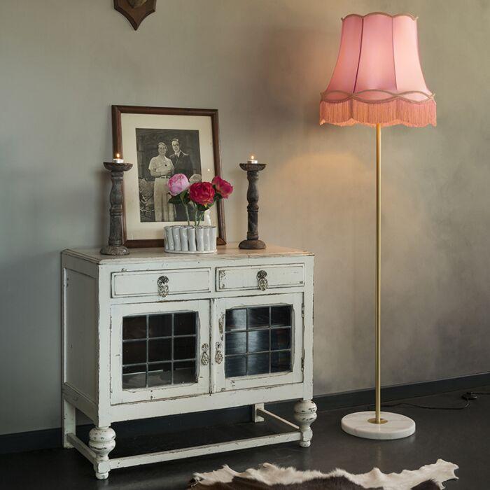 Lámpara-de-pie-retro-latón-pantalla-GRANNY-rosa-45-cm---KASO