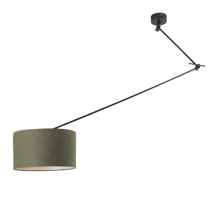 Lámpara-colgante-negra-pantalla-35cm-verde-ajustable---BLITZ-I