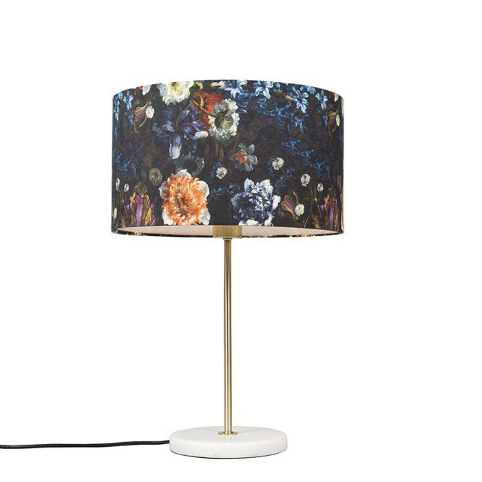 Lámpara-de-mesa-moderna-latón-pantalla-flora-35cm---KASO