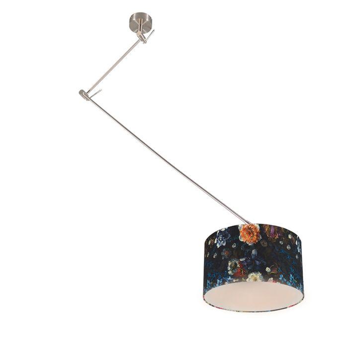 Lámpara-colgante-moderna-acero-pantalla-floral-35cm---BLITZ-1