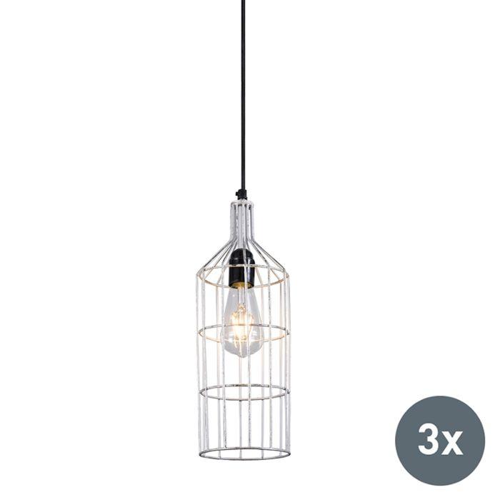 Set-de-3-lámparas-colgantes-plateadas---FRAME-LUXE-D