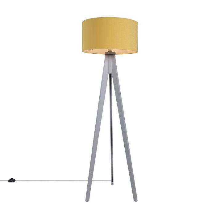 Lámpara-de-pie-TRIPOD-Classic-gris-con-pantalla-50cm-amarillo-maíz