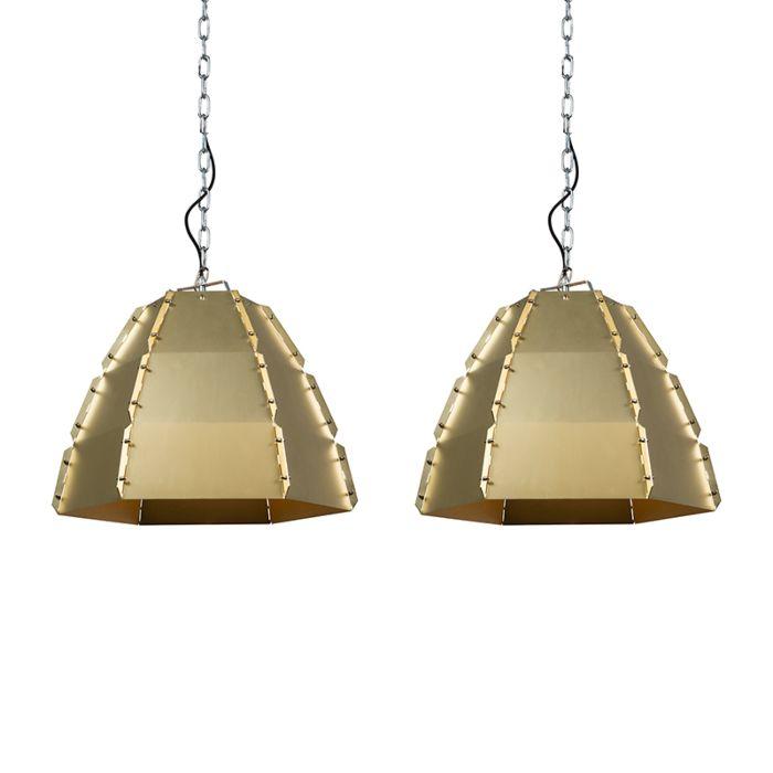 Set-2-lámparas-colgantes-diseño-dorado/latón---NIRO