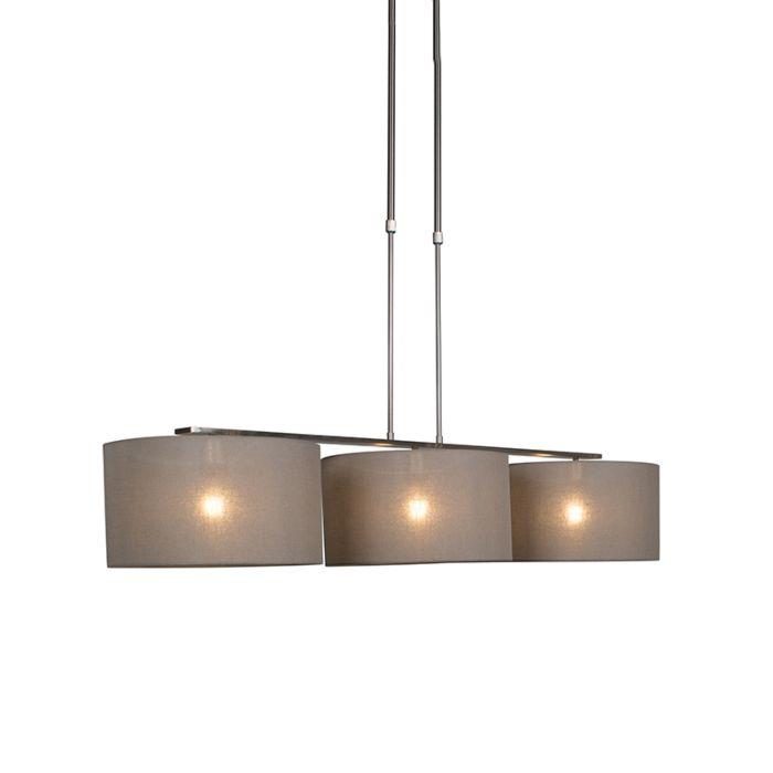 Lámpara-colgante-COMBI-3-Deluxe-acero-con-pantallas-35cm-taupe