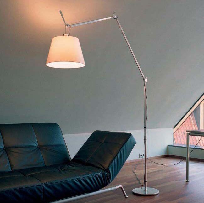 Lámpara-de-pie-con-pantalla---Artemide-Tolomeo-Mega-Terra-aluminium