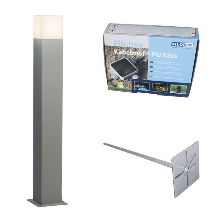 Lámpara-de-exterior-Dinamarca-P70-gris-con-pin-de-tierra-y-funda-de-cable